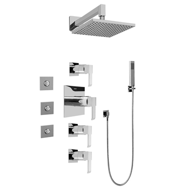 Graff GC1.122A-LM38S-PC Contemporary Square Thermostatic Set with Body Sprays and Handshower With Finish: Polished Chrome