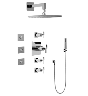 Graff GC1.122A-C9S-SN Contemporary Square Thermostatic Set with Body Sprays and Handshower With Finish: Steelnox (Satin Nickel)