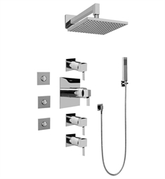 Graff GC1.122A-LM39S Contemporary Square Thermostatic Set with Body Sprays and Handshower