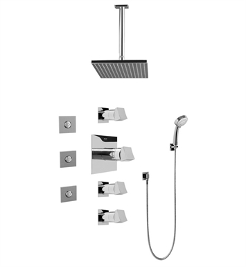 Graff GC1.131A-C10S-PC Contemporary Square Thermostatic Set with Body Sprays and Handshower With Finish: Polished Chrome