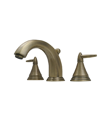 Whitehaus 514.111WS-P Blairhaus Jackson Widespread Lavatory Faucet with Smooth lined Arcing Spout, Cone-shaped Lever Handles, Beveled Escutcheons and Pop-up Waste With Finish: Pewter