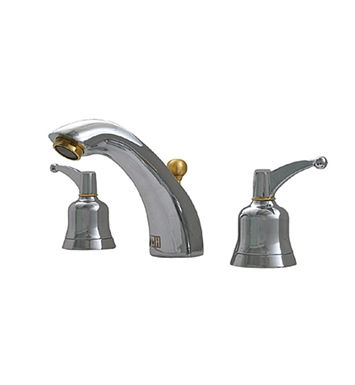 Whitehaus 614.131WS-P Blairhaus Adams Widespread Lavatory Faucet with Smooth Arcing Spout, Bell-shaped Lever Handles, Smooth Escutcheons and Pop-up Waste With Finish: Pewter