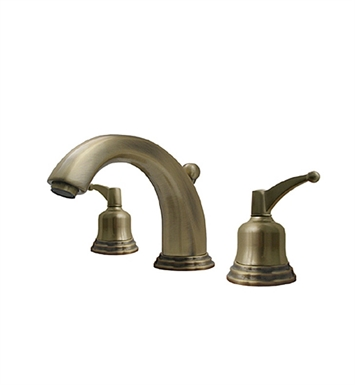 Whitehaus 514.131WS-AB Blairhaus Adams Widespread Lavatory Faucet with Beveled Escutcheons and Pop-up Waste With Finish: Antique Brass