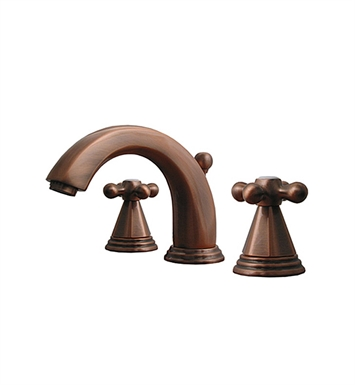 Whitehaus 514.141WS-ACO Blairhaus Truman Widespread Lavatory Faucet with Beveled Escutcheons and Pop-up Waste With Finish: Antique Copper