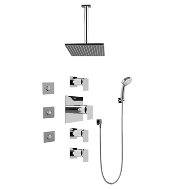 Graff GC1.131A-LM31S-SN Contemporary Square Thermostatic Set with Body Sprays and Handshower With Finish: Steelnox (Satin Nickel)