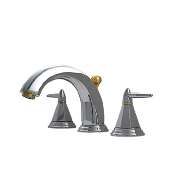 Whitehaus 514.151WS Blairhaus Monroe Widespread Lavatory Faucet with Smooth lined Arcing Spout, Octagon-shaped Lever Handles, Beveled Escutcheons and Pop-up Waste