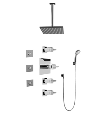 Graff GC1.131A-C14S-PC Contemporary Square Thermostatic Set with Body Sprays and Handshower With Finish: Polished Chrome