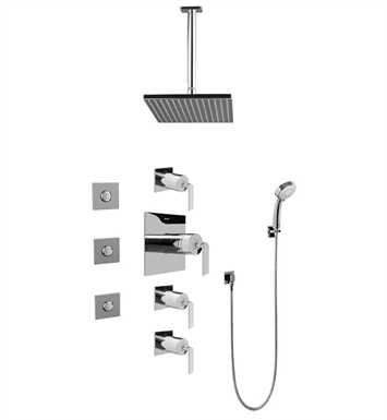 Graff GC1.131A-LM40S-SN Contemporary Square Thermostatic Set with Body Sprays and Handshower With Finish: Steelnox (Satin Nickel)