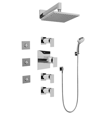 Graff GC1.132A-LM31S-SN Contemporary Square Thermostatic Set with Body Sprays and Handshower With Finish: Steelnox (Satin Nickel)