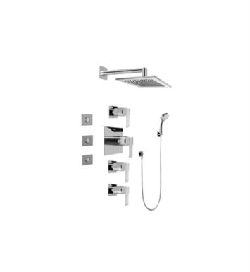 Graff GC1.132A-LM38S-PC Qubic Contemporary Square Thermostatic Set with Body Sprays and Handshower With Finish: Polished Chrome And Rough / Valve: Rough