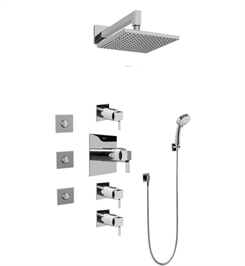 Graff GC1.132A-LM39S-PC Contemporary Square Thermostatic Set with Body Sprays and Handshower With Finish: Polished Chrome