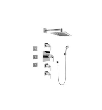 Graff GC1.132A-LM40S-SN Immersion Contemporary Square Thermostatic Set with Body Sprays and Handshower With Finish: Steelnox (Satin Nickel) And Rough / Valve: Trim + Rough