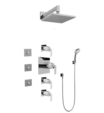 Graff GC1.132A-LM40S Contemporary Square Thermostatic Set with Body Sprays and Handshower