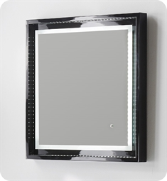 "Fresca Platinum Napoli 24"" Black Gloss Sandblasting Mirror w/ LED Lighting, Touch Switch and Fog-Free System"