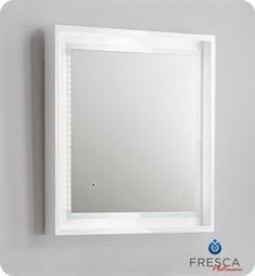 "Fresca Platinum Napoli 24"" White Gloss Sandblasting Mirror w/ LED Lighting, Touch Switch and Fog-Free System"