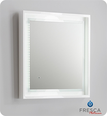 "Fresca Platinum FPMR7624WH Napoli 24"" White Gloss Sandblasting Mirror w/ LED Lighting, Touch Switch and Fog-Free System"
