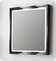 "Fresca Platinum Napoli 31"" Black Gloss Sandblasting Mirror w/ LED Lighting, Touch Switch and Fog-Free System"