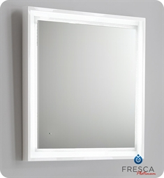 "Fresca Platinum Napoli 31"" White Gloss Sandblasting Mirror w/ LED Lighting, Touch Switch and Fog-Free System"