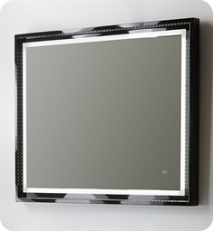 "Fresca Platinum Napoli 39"" Black Gloss Sandblasting Mirror w/ LED Lighting, Touch Switch and Fog-Free System"