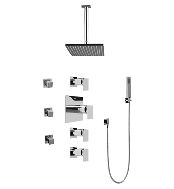 Graff GC1.221A-LM31S-SN Contemporary Square Thermostatic Set with Body Sprays and Handshower With Finish: Steelnox (Satin Nickel)