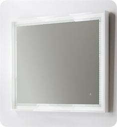 "Fresca Platinum Napoli 39"" White Gloss Sandblasting Mirror w/ LED Lighting, Touch Switch and Fog-Free System"