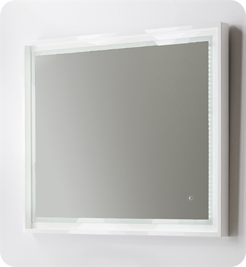 "Fresca Platinum FPMR7640WH Wave 40"" White Gloss Sandblasting Mirror w/ LED Lighting, Touch Switch and Fog-Free System"