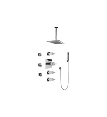 Graff GC1.221A-C14S-SN Contemporary Square Thermostatic Set with Body Sprays and Handshower With Finish: Steelnox (Satin Nickel) And Rough / Valve: Rough