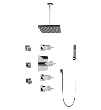 Graff GC1.221A-C14S Contemporary Square Thermostatic Set with Body Sprays and Handshower