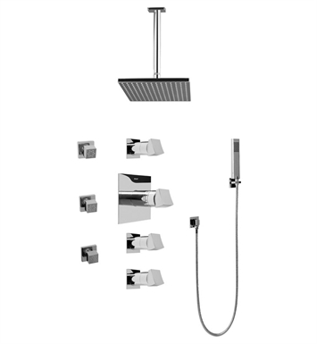 Graff GC1.221A-C10S-PC Contemporary Square Thermostatic Set with Body Sprays and Handshower With Finish: Polished Chrome