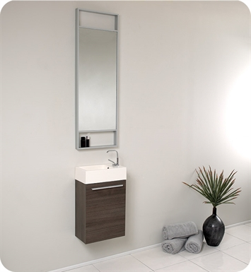 "Fresca FVN8002GO Pulito 16"" Small Gray Oak Modern Bathroom Vanity with Tall Mirror"