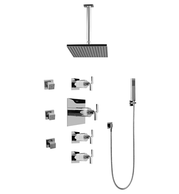 Graff GC1.221A-C9S Contemporary Square Thermostatic Set with Body Sprays and Handshower