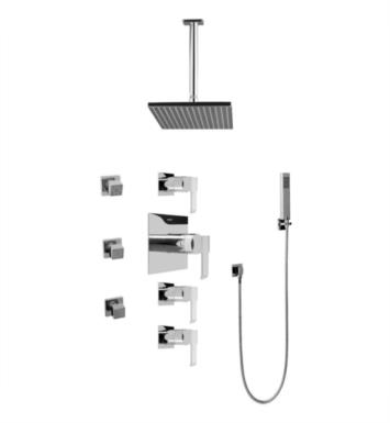 Graff GC1.221A-LM38S Qubic Contemporary Square Thermostatic Set with Body Sprays and Handshower