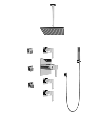 Graff GC1.221A-LM38S-SN Contemporary Square Thermostatic Set with Body Sprays and Handshower With Finish: Steelnox (Satin Nickel)
