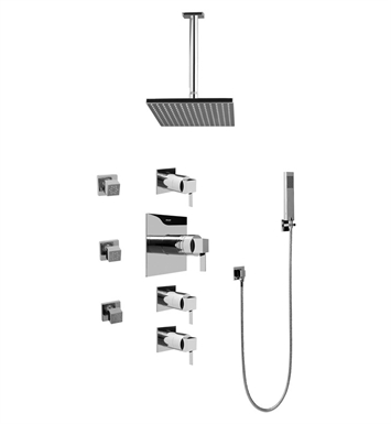 Graff GC1.221A-LM39S-PC Contemporary Square Thermostatic Set with Body Sprays and Handshower With Finish: Polished Chrome