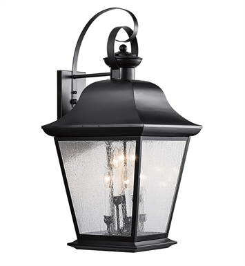 Kichler 9703BK Mount Vernon Collection 6 Light Outdoor Wall Sconce in Black (Painted)