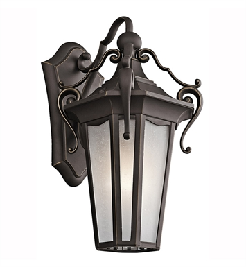 Kichler 49416RZ Nob Hill Collection 1 Light Outdoor Wall Sconce in Rubbed Bronze