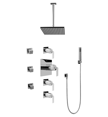 Graff GC1.221A-LM40S-SN Contemporary Square Thermostatic Set with Body Sprays and Handshower With Finish: Steelnox (Satin Nickel)