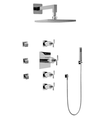 Graff GC1.222A-C9S-PC Contemporary Square Thermostatic Set with Body Sprays and Handshower With Finish: Polished Chrome