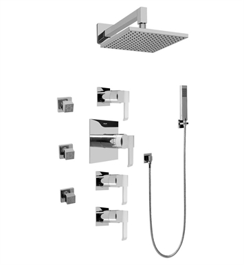 Graff GC1.222A-LM38S Contemporary Square Thermostatic Set with Body Sprays and Handshower