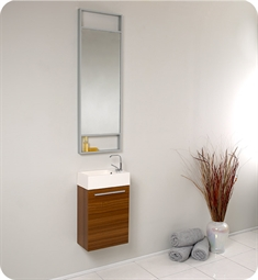 "Fresca FVN8002TK Pulito 16"" Small Teak Modern Bathroom Vanity with Tall Mirror"