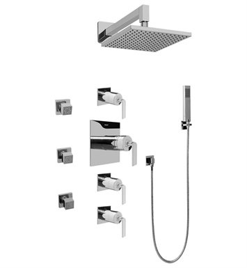 Graff GC1.222A-LM40S-SN Contemporary Square Thermostatic Set with Body Sprays and Handshower With Finish: Steelnox (Satin Nickel)