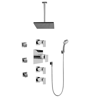 Graff GC1.231A-LM31S-SN Contemporary Square Thermostatic Set with Body Sprays and Handshower With Finish: Steelnox (Satin Nickel)