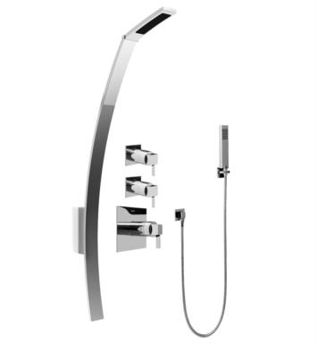 "Graff GF2.020A-LM39S-PC Qubic Tre 53 3/8"" Thermostatic Shower Set with Handshower With Finish: Polished Chrome And Rough / Valve: Trim + Rough"