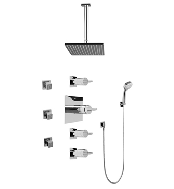 Graff GC1.231A-C14S-PC Contemporary Square Thermostatic Set with Body Sprays and Handshower With Finish: Polished Chrome