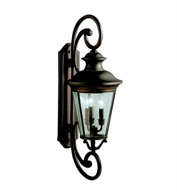 Kichler 9348OZ Eau Claire Collection 3 Light Outdoor Wall Sconce in Olde Bronze