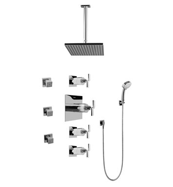 Graff GC1.231A-C9S-PC Contemporary Square Thermostatic Set with Body Sprays and Handshower With Finish: Polished Chrome