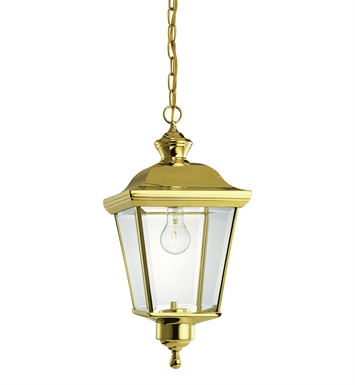 Kichler 9513PB Bay Shore Collection 1 Light Outdoor Hanging Pendant in Polished Brass