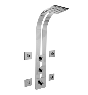 Graff GE3.100A-LM31S-SN Square Thermostatic Ski Shower Set with Body Sprays With Finish: Steelnox (Satin Nickel)