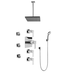Graff GC1.231A-LM38S Contemporary Square Thermostatic Set with Body Sprays and Handshower