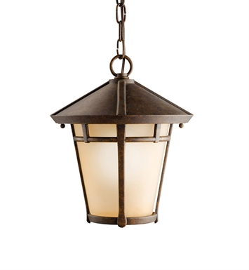 Kichler 9554AGZ One Light Outdoor Hanging Pendant in Aged Bronze